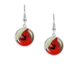 "Red Northern Male Cardinal Bird Photo Dangle Earrings with 3/4"" Art Charms in Silver Tone"