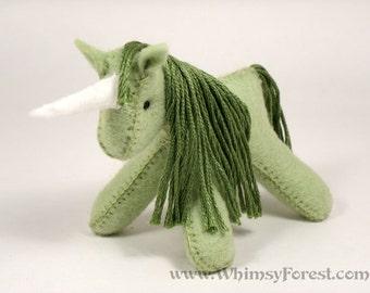 Miniature Green Felt Unicorn Toy