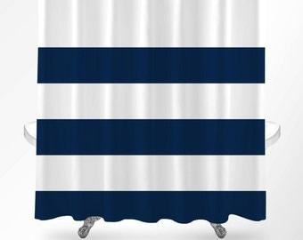 Nautical Shower Curtain, Nautical Bathroom, Shower Curtain Navy, Nautical Stripes Shower Curtain, Bathroom Decor, Bathroom Curtain