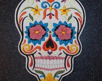 Day of the Dead Calavera Sugar Skull Mexicanna Dia de los muertos iron on sew on patch motif