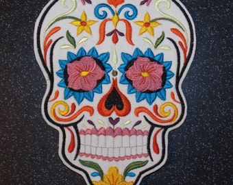 Calavera Skull Patch, calavera sew on, iron on patch,  Sugar Skull Patch, Day of the Dead Patch, Mexicanna Dia de los muertos, skull motif