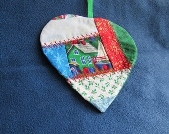 Christmas ornament, heart shaped, house, sailboat, christmas fabrics, decorative top stitching.