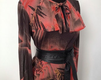 Dress Vintage of the year 80, size S/M, foliage
