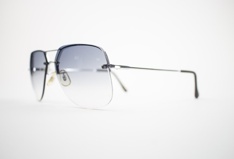 silver aviator glasses tlw5  Vintage Sunglasses  70s Silver Aviator Sunglasses  Oversize Grey Gradient  Lenses  1970s Sunglasses  NOS Vintage Deadstock