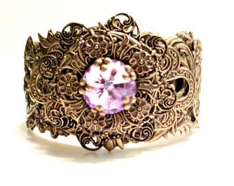 Cuff Bracelet Brass, Filigree Cuff, Assemblage Statement Cuff, Flower Cuff, Purple Crystal Cuff Bracelet, Filigree Cuff, Vintage Style Cuff