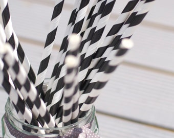 Black and white stripe vintage style paper straws