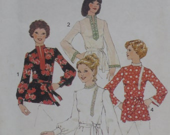 Simplicity 6815 Pattern Misses' Long Sleeve Tunic Top Size 12 Uncut Vintage