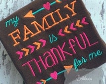 Family is Thankful Embroidery Saying