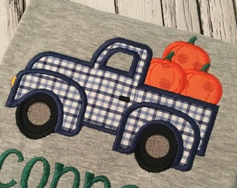 Pumpkin Applique - Truck Applique - Fall Applique - Applique Design - Embroidery Design - Pumpkin Embroidery - Truck Embroidery