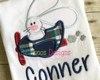 Bunny Applique Design - Airplane Applique Design - Plane Applique Design - Rabbit Applique Design - Easter Applique Design - Applique Design