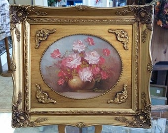 Signed Original Robert Cox Oil Painting Floral Roses Ornate Gold Frame