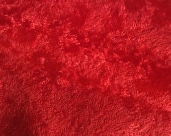 One Half Yard of Fabric - Christmas Red Crushed Velvet Fabric
