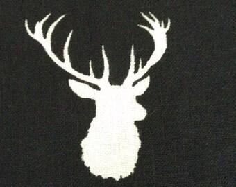 One Half Yard of Fabric -  Deer Head Silhouettes Black
