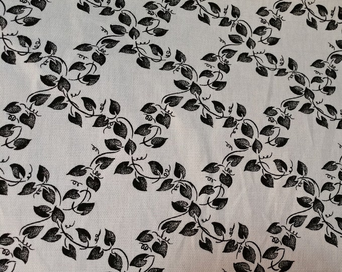 Frontera - Ebony Leaves and Vines in a Diamond Pattern on a Cream Background Upholstery Fabric