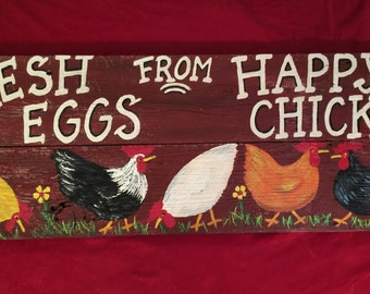 Chicken Coop Sign 36x13 Country large Rustic wood Hand Painted Country Sign ,Hens,Roosters,Farm Sign,Chicken Coop Sign,