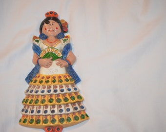Handmade Spanish vintage flamenco lady art for display/wall hanging from Spain