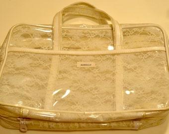 Vintage little Japanese style gothic lolita harajuku type white purse/bag; Japan Tokyo Asian toiletries bag for makeup/skincare etc travel