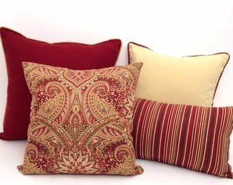 Yellow and Rust Red Designer Throw Pillows, Luxury Home Decor, Pillows for Bed or Couch, ,P-4-107,8-101,11-106