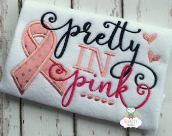 Pretty in Pink Cancer Awareness Shirt or Bodysuit, Cancer Awareness Shirt, Pink Ribbon Shirt, Cancer Awareness, Cancer Walk,