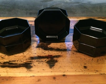 Set of 7 France Octagon Black Bowls with 2 Mugs