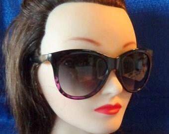Vintage Large Black & Purple Cat Eye Sunglasses