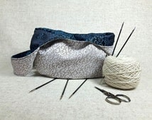 Small Knitting Bag, black, turquoise, beige, elegant, Japanese Knot Bag, Crochet, Project Bag,