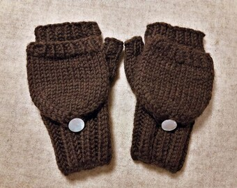 Organic Convertible Fingerless Gloves for Babies, Dark Brown, Merino Wool, Mittens with Flap, Gift for Kids