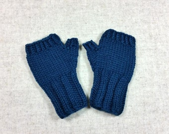 Organic Fingerless Gloves for Babies and Toddlers, dark teal, 7 to 18 Months, pure Wool, Handknitted Wrist Warmers, Mittens