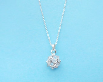 Crystal, Ball, Sterling Silver, Necklace, Simple, Tear, Cubic, Zircon, Cubic, Necklace, Cubic, Bridal, Wedding, Birthday, Best Friend, Gift