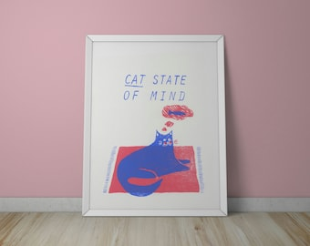 A3 Cat State of Mind Screen Print - Cat Print - Cat Illustration - Cat Art