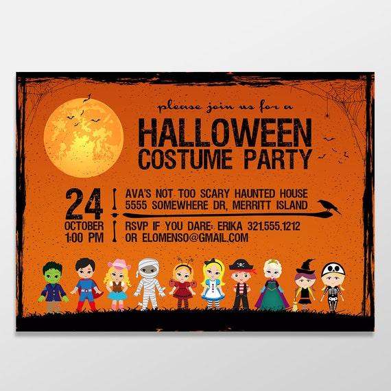kid s halloween costume party invitations halloween invites