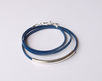 Leather bracelet, wrap bracelet, friendship bracelet, leather bracelet, boho bracelet, wraparound bracelet, blue bracelet