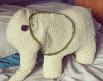 Gingham Elephant Cushion