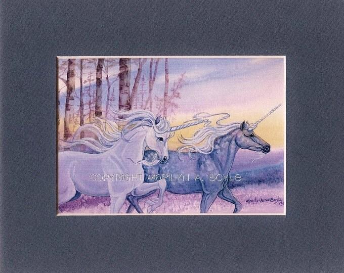 MATTED PRINT - FANTASY; 8 x 10 matted, unicorns, running, wall art,