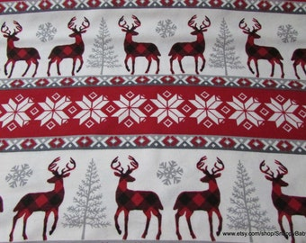 Christmas Flannel Fabric - Buffalo Check Winter Stripe - 1 yard - 100% Cotton Flannel