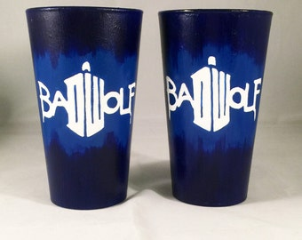 SALE!! BAD WOLF Pint Glasses - Dr. Who Inspired