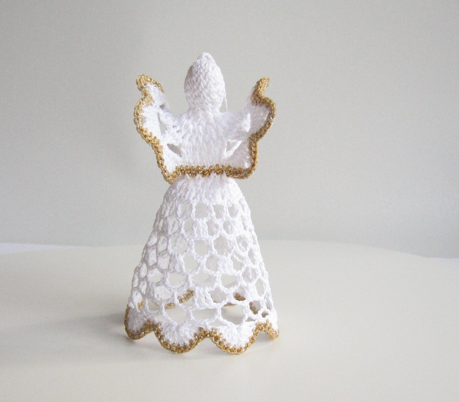 Crochet Angel Baptism Gift Christmas Lace Angel Ornament Tree: White Crochet Christmas Angel Handmade Christmas Angel