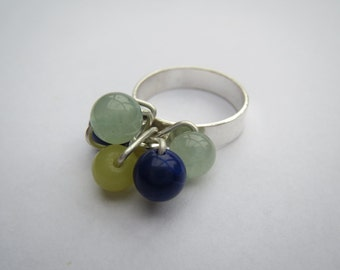 Sterling-silver ring with jade and sodalite beads, size O (UK) / size 7 (US)