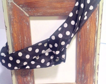 Infinity headband navy with white polka dots