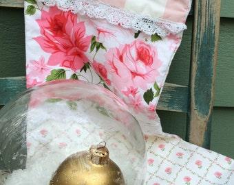 Shabby chic stocking, cottage Christmas stocking, Christmas stocking, rosy stocking, roses, Laura Ashley rose trellis fabric