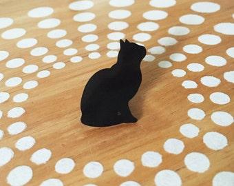 Black Cat Tie Tack Lapel Pin Brooch, Black Cat Silhouette Jewelry