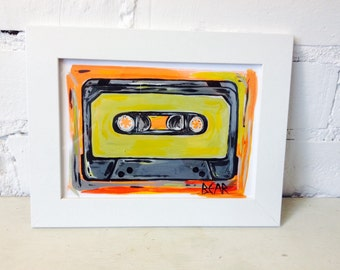 Original  Abstract Cassette Art / Valentines Gift