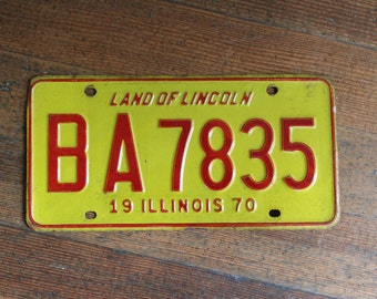 Vintage License Plate - Yellow and Red Illinois 1970 - Land of Lincoln
