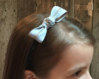 Zipper Bow Headband - grayish blue