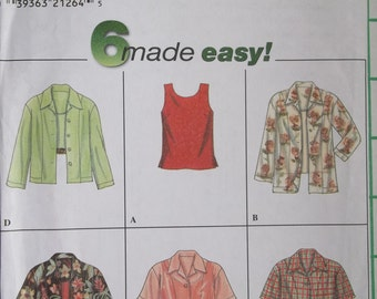 Simplicity 8013 -- 6-made-easy tops. Sizes 6, 8, 10. Pattern is uncut and factory folded.