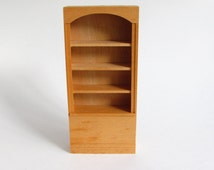 Vintage Dollhouse Bookshelf, Unfinished Houseworks Miniature Library Bookcase, Wooden Doll House Furniture