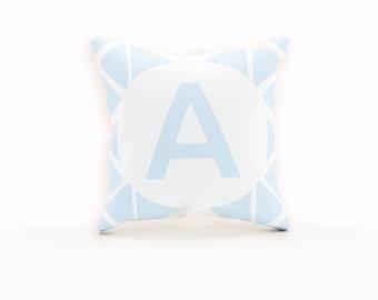 Blue Monogram Pillow, Blue Pillow Covers, Pillow Case Personalized, Monogram Decorative Pillow, Personalized Pillow Case, Custom Pillow Case