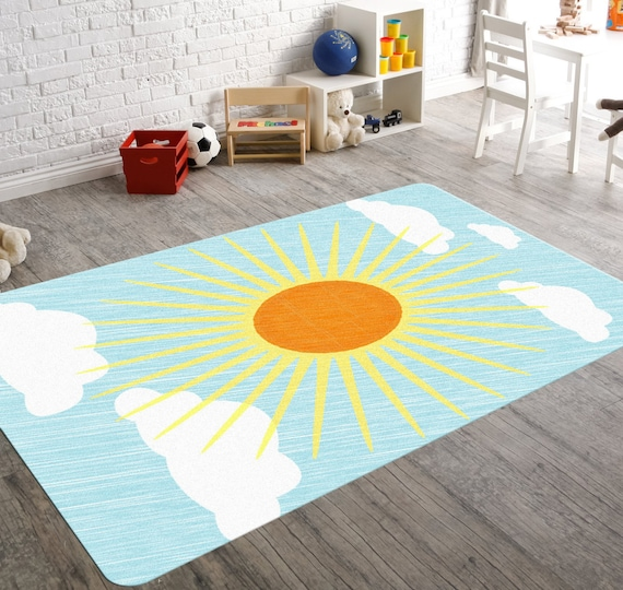 Sun decor nursery rug nursery decor boy baby floor mat sun for Rugs for boys bedrooms