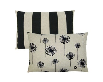 1 pillowcase beige black DANDELION canvas 40 x 60 cm flower