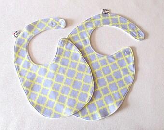 Baby Bib , Toddler Bib , grey and yellow bib, cotton flannel bib , fits infant to 2 years plus,  cotton baby bib , unique baby gift